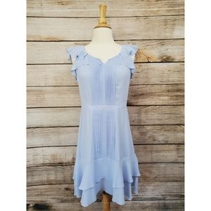 Banana Republic Sky Blue Ruffled Pleated Dress